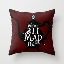 """We're all MAD here"" - Alice in Wonderland - Teapot - 'Tulgey Wood Brown' Throw Pillow"