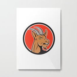 Mountain Goat Head Circle Cartoon Metal Print