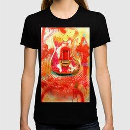 """""""To the Old Gods"""" American contemporary Guitar  painting, prints , music , electric , wall art,decor T-shirt"""
