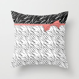 Black and white tiger pattern with pink bow. Throw Pillow