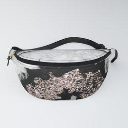 Gray Black White Agate with Rose Gold Glitter #1 #gem #decor #art #society6 Fanny Pack