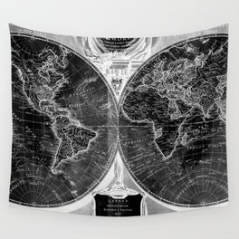 Black and White World Map (1808) Inverse Wall Tapestry