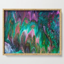 Colorful wild enigma flowing colors Serving Tray