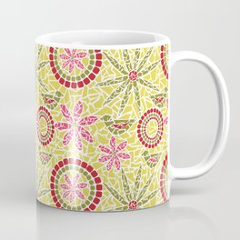 Birds and Flowers Mosaic - Yellow, green and pink Coffee Mug