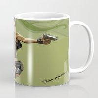 megan lara Mugs featuring Lara Croft by Fran Agostinelli