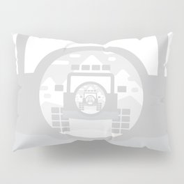 Light Grey digital drawing of a 4x4 adventure vehicle in the mountains Pillow Sham