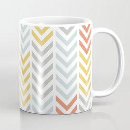 SouthWestern Chevron Arrow Line Art Stripes in Muted Colors Blue Orange Yellow and Gray Coffee Mug