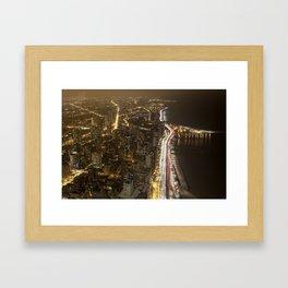 Lakeshore Chicago Night Shot Framed Art Print