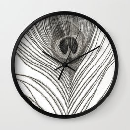 Black and White Peacock Feather Wall Clock
