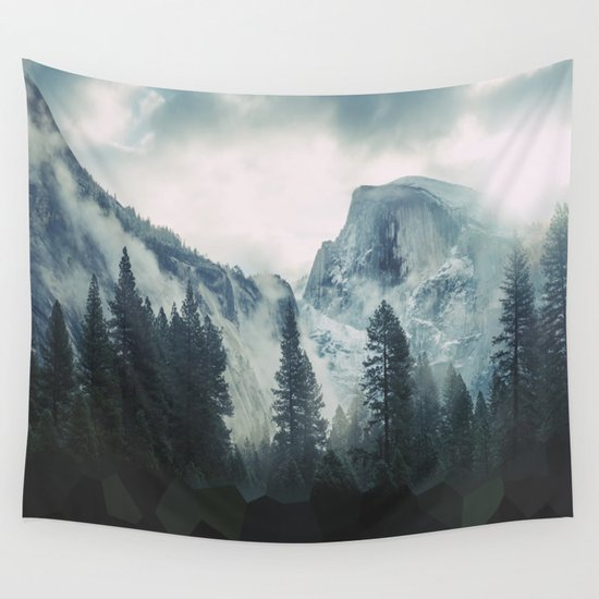 Cross Mountains Wall Tapestry