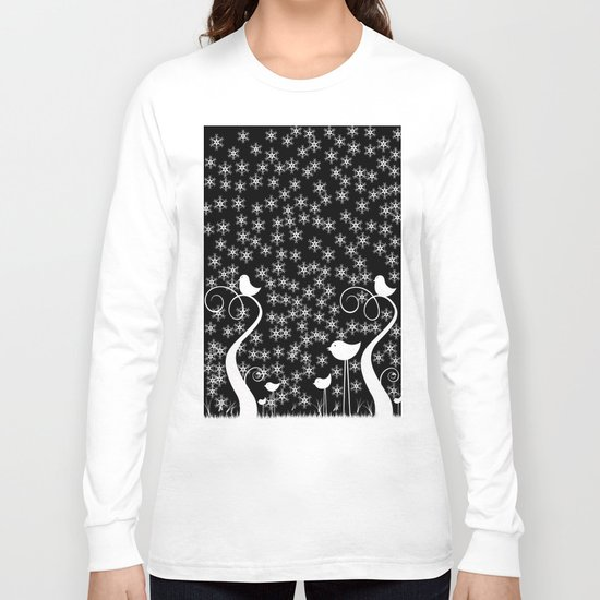 Birds In Harsh Winter. Long Sleeve T-shirt