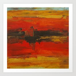 Abstract Painting Sunset Sky and Boat Art Print