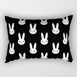 Bunny Rabbit black and white spring cute character illustration nursery kids minimal floral crown Rectangular Pillow