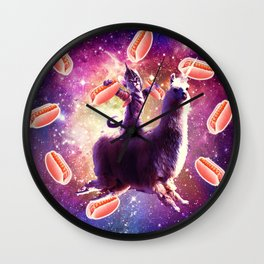 Warrior Space Cat On Llama Unicorn - Hot Dog Wall Clock