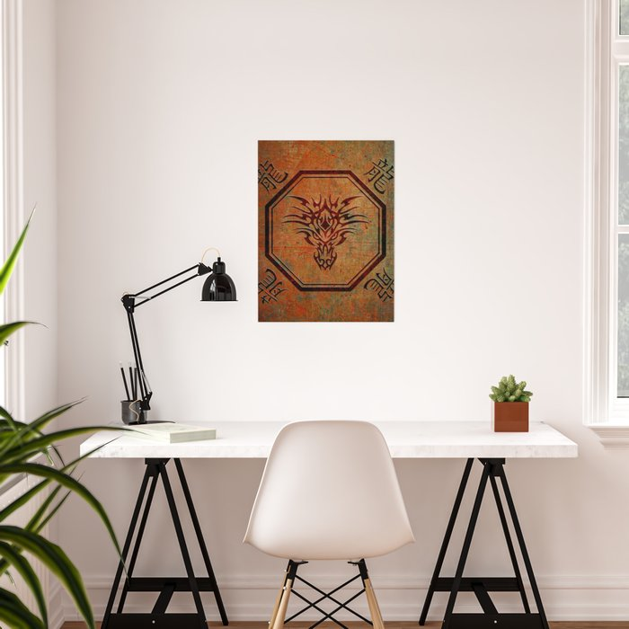Tribal Dragon Head In Octagon With Dragon Chinese Characters Poster