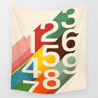 numbers Wall Tapestries featuring Retro Numbers by Picomodi