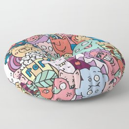Funny doodle creatures in colour  Floor Pillow