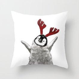 Christmas Baby Penguin Reindeer Throw Pillow