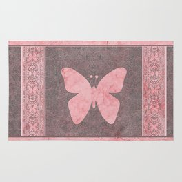 Decorative Pink Paper Texture Butterfly Design Rug