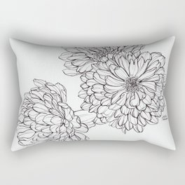 Ink Illustration of Summer Blooms Rectangular Pillow