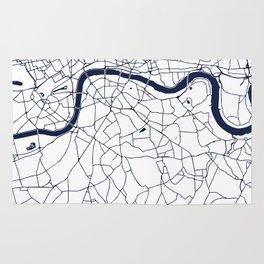 London White on Navy Street Map Rug