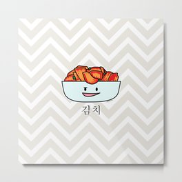 Happy Kimchi Kimchee Bowl Cabbage pickled spicy Korean Metal Print