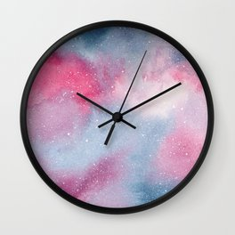 Pink and blue watercolour galaxy Wall Clock