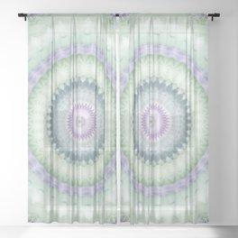 Heirloom Mandala in Pastel Green and Purple Sheer Curtain