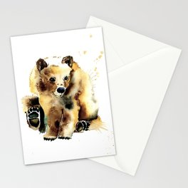 Baby Brown Bear Watercolor Painting by Lisa Whitehouse Stationery Cards