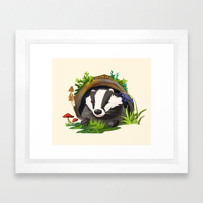 Badger and Bluebells Framed Art Print