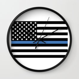 Blue Thin Flag Police Law Enforcement Flag Wall Clock