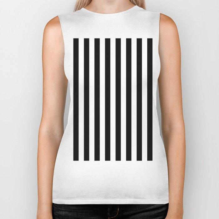 Parisian Black & White Stripes (vertical) Biker Tank