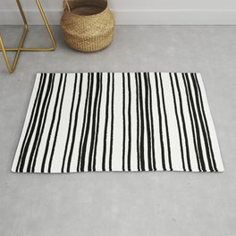 Lines and Curves Black/White Palette Rug