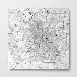 San Antonio White Map Metal Print