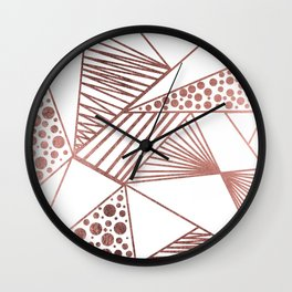 Geometrical modern faux rose gold abstract shapes Wall Clock