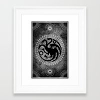 targaryen Framed Art Prints featuring House Targaryen by Micheal Calcara