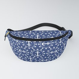 White Anchors & Stars Pattern on Navy Blue Fanny Pack