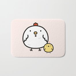 Cute chick and chicken Bath Mat