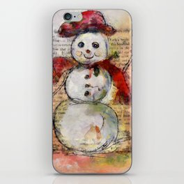 Snowman with Red Hat iPhone Skin
