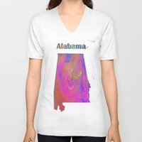 alabama V-neck T-shirts featuring Alabama Map by Roger Wedegis