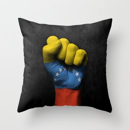 Venezuelan Flag on a Raised Clenched Fist Throw Pillow