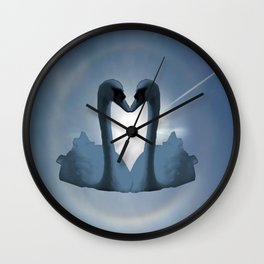 Two Blue Swans Inside Sun's Halo Wall Clock