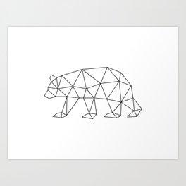 Geometric Bear in Black and White Art Print