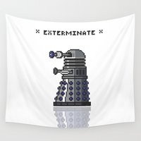 dalek Wall Tapestries featuring Pixel Dalek by Dean Bottino