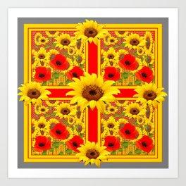YELLOW SUNFLOWERS RED POPPIES DECO ART Art Print