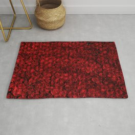 Roses are red, this pattern is too (Deep red roses with geometric lines overlay) Rug