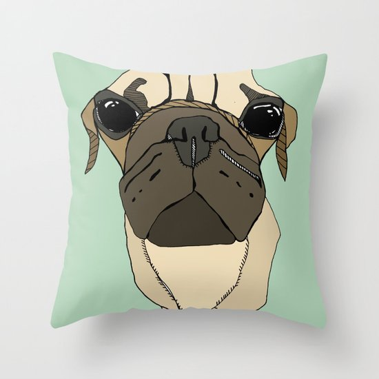 Puglet Throw Pillow