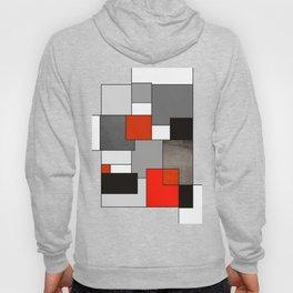 Modern Geometric Red and Black Hoody