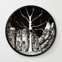 gondor Wall Clocks featuring The dark plague by Anca Chelaru