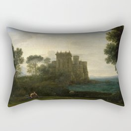 Claude Lorrain The Enchanted Castle Landscape with Psyche outside the Palace of Cupid Rectangular Pillow